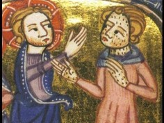 Christ interacting and healing a leper