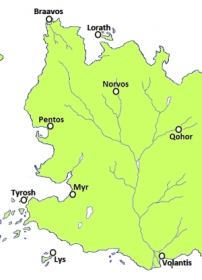Volantis location at the bottom of the image at the foot of the Rhoyne