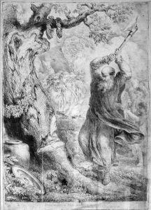 St. Boniface felling the Donar's Oak, a pagan and sacred centre.