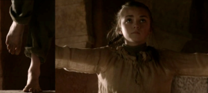 Syrio has Arya learn swordplay by first instructing her to practice proper balancing.