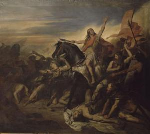 Clovis I leading the Franks to victory.