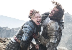 Brienne and The Hound engaged in a duel in the season 4 finale.