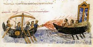 A Byzantine Ship using Greek Fire