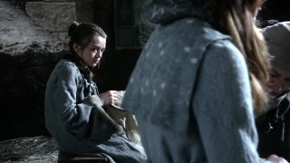 Arya often finds herself in Sansa's shadow when it comes to feminine crafts.
