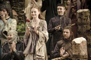 Sansa cheering for Loras Tyrell, the Knight of Flowers, at the King's Tourney