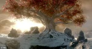 An image of a weirwood tree, the sacred site of the Old Gods.