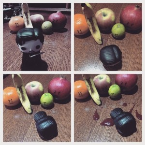 """Done to death by fruit."" (Created by R. Melfi.)"