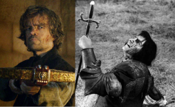 Peter Dinklage as Tyrion Lannister and Laurence Olivier as Richard III