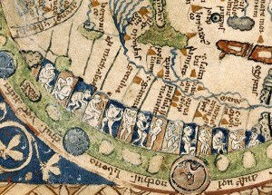 Close up of the Psalter World map from 1260