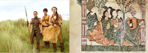 The Sand Sisters shown with weaponry (left), an actual depiction of peaceful Spanish Moors taking in some entertainment (right)