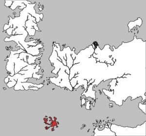 The Summer Isles, hightlighted in red, are a distant land with little known of it.